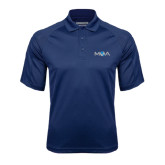 Navy Textured Saddle Shoulder Polo-MOA Letters Only