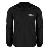 V Neck Black Raglan Windshirt-MOA Letters Only