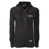 Ladies Under Armour Black Varsity Full Zip Hoodie-MOA Letters Only