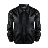 Black Leather Bomber Jacket-MOA Letters Only