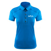 Ladies Ogio Sapphire Blue Pleated Back Polo-MOA Letters Only