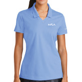 Ladies Nike Golf Dri Fit Light Blue Micro Pique Polo-MOA Letters Only