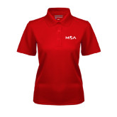 Ladies Red Dry Mesh Polo-MOA Letters Only