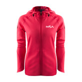 Ladies Tech Fleece Full Zip Hot Pink Hooded Jacket-MOA Letters Only