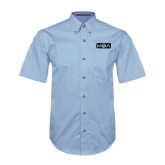 Light Blue Twill Button Down Short Sleeve-MOA