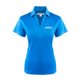 Ladies Light Blue Performance Fine Jacquard Polo-MOA Letters Only