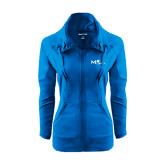 Ladies Sport Wick Stretch Full Zip Sapphire Jacket-MOA Letters Only