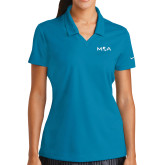 Ladies Nike Golf Dri Fit Teal Micro Pique Polo-MOA Letters Only