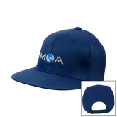 Navy Flat Bill Snapback Hat-MOA Letters Only