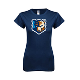 Next Level Ladies SoftStyle Junior Fitted Navy Tee-Bruin Head