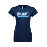 Next Level Ladies SoftStyle Junior Fitted Navy Tee-Arched Bruins Shield
