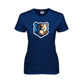 Ladies Navy T Shirt-Bruin Head