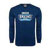 Navy Long Sleeve T Shirt-Soccer