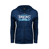 ENZA Ladies Navy Fleece Full Zip Hoodie-Arched Bruins Shield