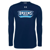 Under Armour Navy Long Sleeve Tech Tee-Arched Bruins Shield