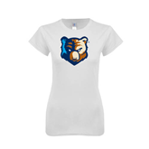 Next Level Ladies SoftStyle Junior Fitted White Tee-Bruin Head