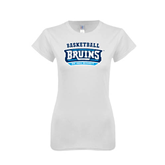 Next Level Ladies SoftStyle Junior Fitted White Tee-Basketball