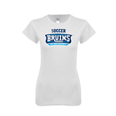 Next Level Ladies SoftStyle Junior Fitted White Tee-Soccer