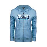 ENZA Ladies Light Blue Fleece Full Zip Hoodie-Arched Bruins Shield