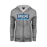 ENZA Ladies Grey Fleece Full Zip Hoodie-Arched Bruins Shield
