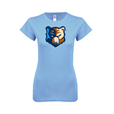 Ladies SoftStyle Junior Fitted Light Blue Tee-Bruin Head