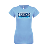 Ladies SoftStyle Junior Fitted Light Blue Tee-Arched Bruins Shield