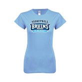 Ladies SoftStyle Junior Fitted Light Blue Tee-Basketball