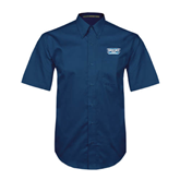 Navy Twill Button Down Short Sleeve-Arched Bruins Shield