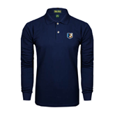 Navy Long Sleeve Polo-Bruin Head
