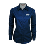 Ladies Navy Twill Button Down Long Sleeve-Arched Bruins Shield