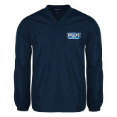 V Neck Navy Raglan Windshirt-Arched Bruins Shield