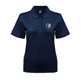 Ladies Easycare Navy Pique Polo-Bruin Head