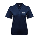 Ladies Easycare Navy Pique Polo-Arched Bruins Shield