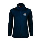 Ladies Fleece Full Zip Navy Jacket-Official Logo