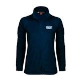 Ladies Fleece Full Zip Navy Jacket-Arched Bruins Shield