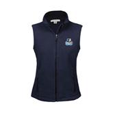 Ladies Fleece Full Zip Navy Vest-Official Logo