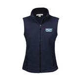 Ladies Fleece Full Zip Navy Vest-Arched Bruins Shield