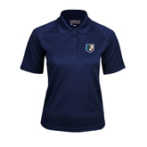 Ladies Navy Textured Saddle Shoulder Polo-Bruin Head