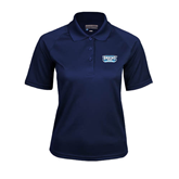 Ladies Navy Textured Saddle Shoulder Polo-Arched Bruins Shield