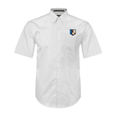 White Twill Button Down Short Sleeve-Bruin Head
