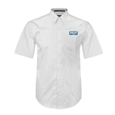 White Twill Button Down Short Sleeve-Arched Bruins Shield