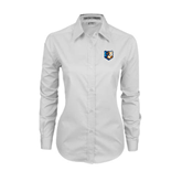 Ladies White Twill Button Down Long Sleeve-Bruin Head