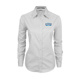 Ladies White Twill Button Down Long Sleeve-Arched Bruins Shield