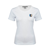 Ladies White Stretch Scoop Neck-Bruin Head