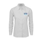 Ladies White Oxford Shirt-Arched Bruins Shield