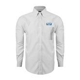 Mens White Oxford Long Sleeve Shirt-Arched Bruins Shield