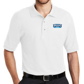 White Easycare Pique Polo-Arched Bruins Shield