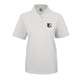 Ladies Easycare White Pique Polo-Bruin Head
