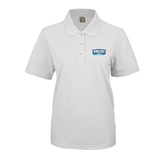 Ladies Easycare White Pique Polo-Arched Bruins Shield