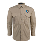 Khaki Long Sleeve Performance Fishing Shirt-Bruin Head